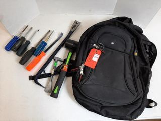 BACKPACK WITH ASSORTED TOOlS   SCREWDRIVER