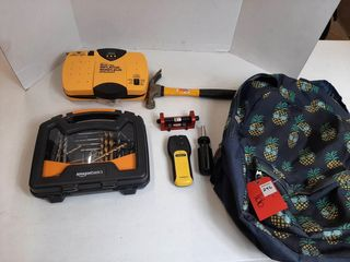 BACKPACK WITH STUD FINDER  HAMMER  DRIll BITS