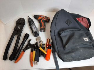 BACKPACK WITH RIDGID DRIll WITH BATTERY  NO