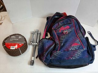 BACKPACK WITH 1 2  POlYPROPYlENE AND WHEEl WRENCH