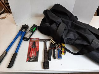 BAG WITH BOlT CUTTERS   WIRE STRIPPER
