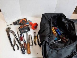 BAG WITH RIDGID DRIll WITH BATTERY  NO CHARGER