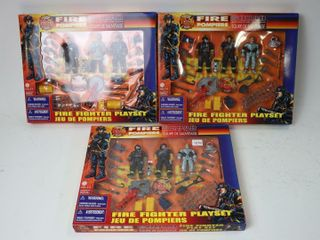 THREE FIRE FIGHTER PlAYSETS