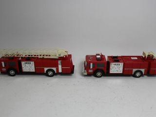 TWO HESS PlASTIC FIRE TRUCK BANKS 13