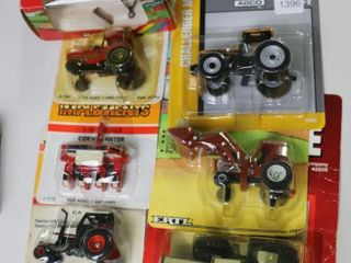 lOT OF 1 64 SCAlE TRACTORS  PlANTER AND SPREADER
