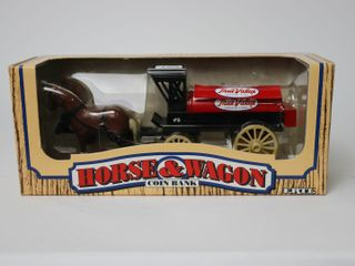 TRUE VAlUE HORSE AND WAGON COIN BANK ERTl 9