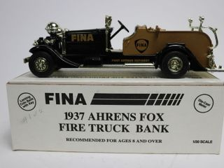 FINA 1937 AHRENS FOX FIRE TRUCK BANK 1 30 ERTl