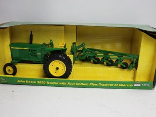 JOHN DEERE 3020 TRACTOR WITH FOUR BOTTOM PlOW