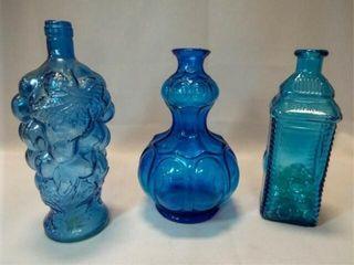 Blue Glass Bottles   Vases  3