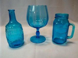 Blue Glass Bottles   Vases   Glasses  3