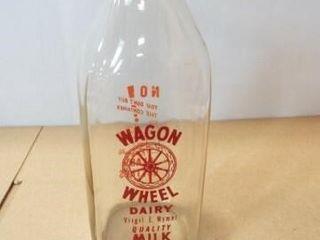 Wagon Wheel Milk Bottle w  lid