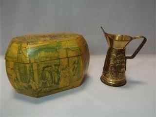 Decoupage Wood Box  Tin Pitcher