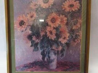 Monet Sunflower Print  Framed  24 x 20