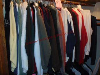 Group women s clothes  on top rack in closet