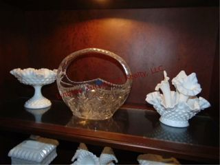 Group of milk glass  candy dishes  basket  bowls