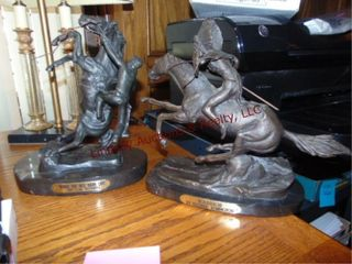 2  sculptures by Frederic Remington   CM Russell