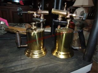 2 brass torches  1is NO  2  GEO W  Diener MFG CO