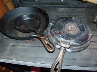 2 cast iron skillets 8 SK made in USA    3
