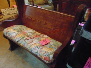 Wood bench w  cushion 41 5 x 24 x 39