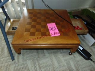 Wood floor checkers game board