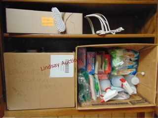 Box of cleaning laundry items  Magic erasers