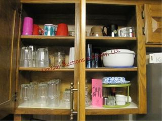 2 cabinets of dishes  glass cups  coffee mugs