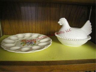 2pcs American art ware egg plate   hen on nest