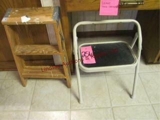 2 step stools  1 is wood werner