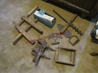 7pcs vintage tools  plane  clamp  drill    other