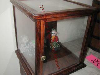 Wood display case 15 x 15 x 16 w  3 clown dolls