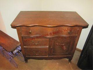 Antique wash stand 3 drawers 1 door 34 x 18 x30