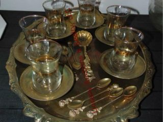 Silver tray  6 cups   saucers  7 spoons