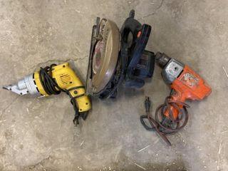 3 Elec Tools - Metal Shear,Skill Saw & Elec Drill