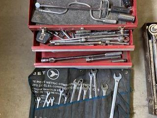 Red Tool Box & Contents & 3/4 Drive Socket Set