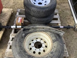 Trailer Tires, Axles & Misc On Pallet Includes