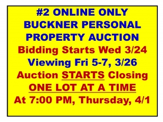 #2 ONLINE ONLY Buckner Estate Personal Property Auction