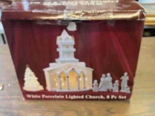 WHITE PORCElAIN lIGHTED CHURCH