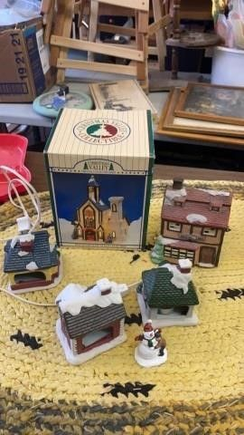 2lIGHTED CHRISTMAS VIllAGE BUIlDINGS 3 WITH