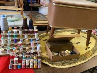 SEWING CHEST  CHAIR WITH THREAD AND OTHER SEWING