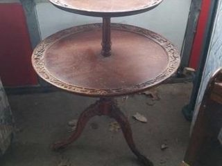 ANTIQUE ROUND WOOD 2 TIER STAND 32  TAll