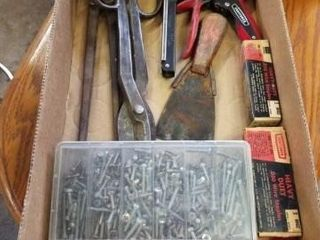 CONTAINER OF SCREWS  lARGE TIN SNIPS  STAPlER AND