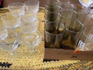 BOX OF DRINKING GlASSES AND WINE  DESSERT CRYSTAl