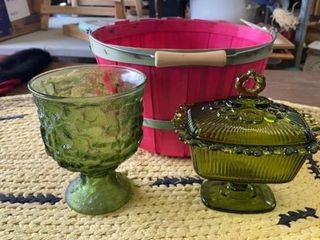 GREEN PlANTER  CANDY DISH AND BASKET