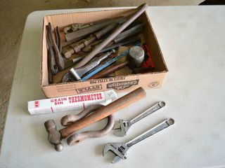 Box Of Assorted Tools  Grain Bin Thermometer