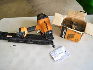 Bostitch Air Nailer and Box of 3 1 2  Stick Nails