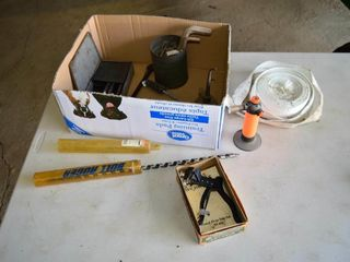 Box of Assorted Items   Saw Set  Torch  Auger Bit