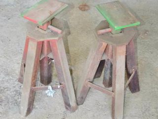 Pair of Heavy Adjustable Steel Stands