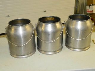 3  Stainless Milk Pails