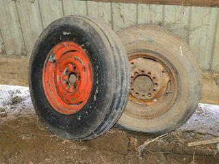 2 Tires on rims  7 6 14  205 75R 15