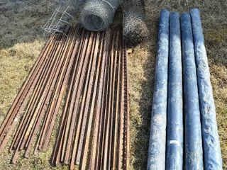 Grp  of Steel T Posts   4  Plastic Fence Posts